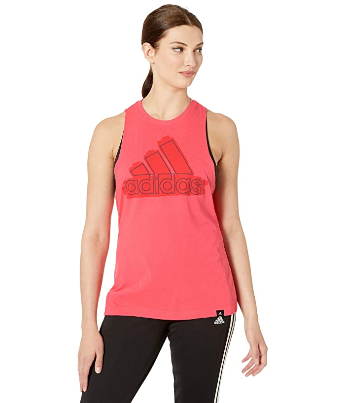 adidas Tonal Badge of Sport Muscle Tank Top (Shock Red) Women