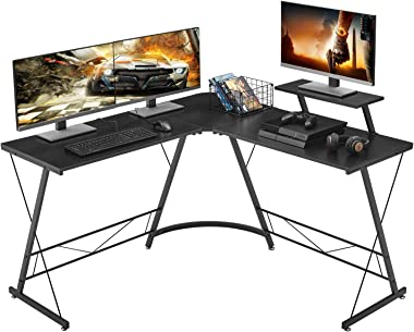 "Mr IRONSTONE L-Shaped Desk 50.8"" Computer Corner Desk, Home Gaming Desk, Office Writing Workstation with Large Monitor Stand,"