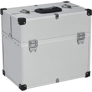 Festnight Caja de Herramientas Aluminio, ABS y Madera Plateado 43,5X22,5X34 Cm, Maletín de Herramientas Aluminio con 6 Bandejas Extensibles: Amazon.es: Hogar