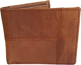 Mens Business Stylish Bifold ID Card Holder Brown Leather Wallet