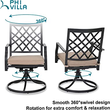Outdoor Metal Swivel Chairs Set of 2 Patio Dining Rocker Chair with Cushion Furniture Set Support 300 lbs for Garden Backyard