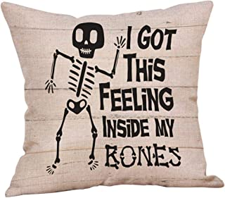 Funnygals - Halloween Cotton Linen Throw Pillow Case Cushion Covers Pumpkin Truck Wreath 18 x 18 inches 45 x 45cm