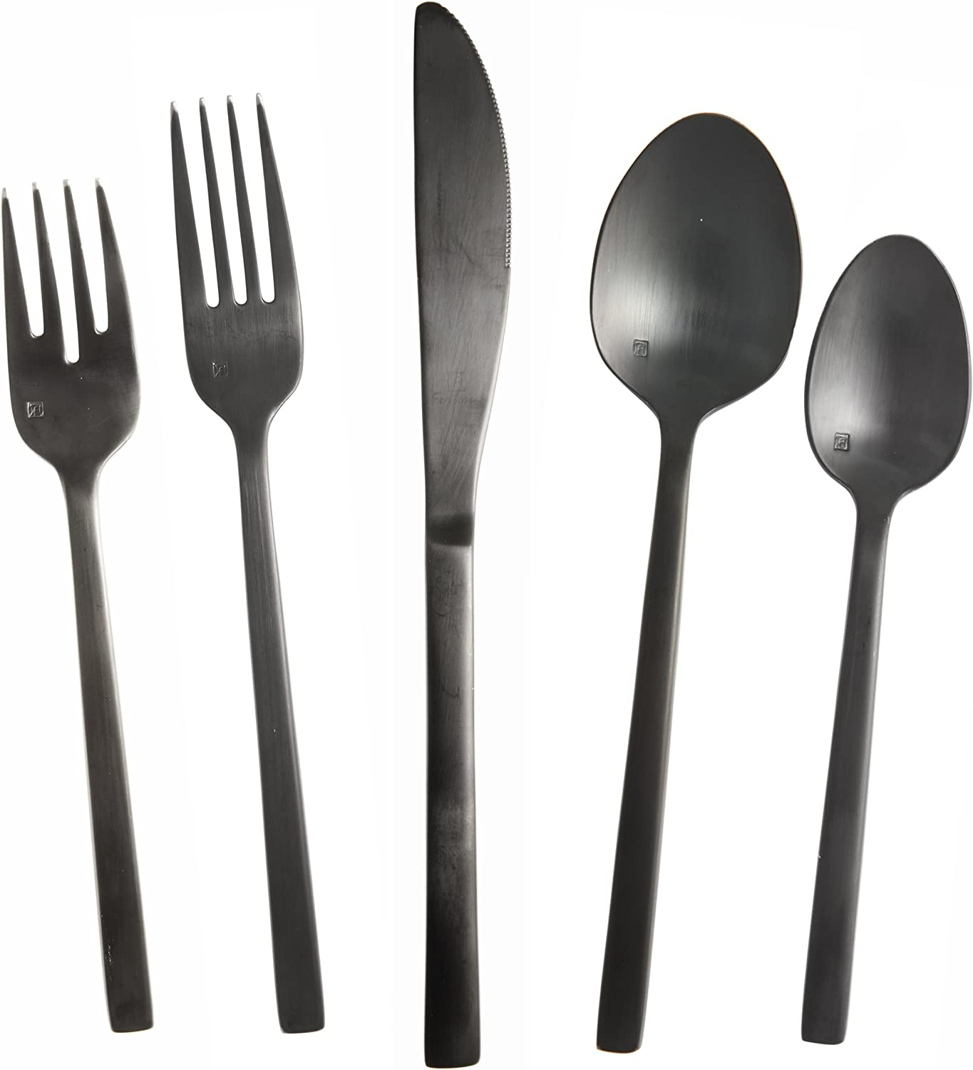 Fortessa Arezzo 18 10 Stainless Steel Flatware, 5 Piece Place Setting, Service for 1, Brushed Black