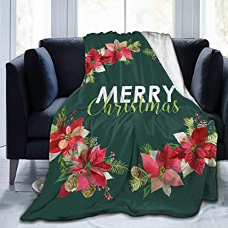 """Fleece Blanket 50"""" x 60""""-New Year and Christmas Card - Vintage Poinsettia Home Flannel Fleece Soft Warm Plush Throw Blanket for Bed/Couch/Sofa/Office/Camping"""