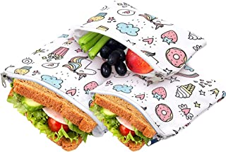 3 Pcs Reusable Sandwich Bags for Kids, Snack Bags Washable Lunch Bags with Easy Open Zipper, Dishwasher Safe Food Wraps for Boys and Girls (Set of 3)