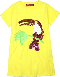 Girl's T-Shirt Dress with Parrot, Sizes 4-12