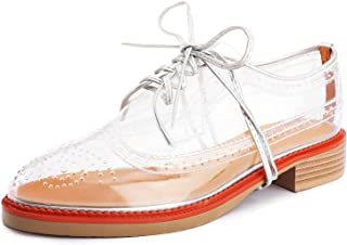 Aiminila Women's Lace-up Oxfords Fashion Perforated Wingtip Flat Transparent Brogue Shoes