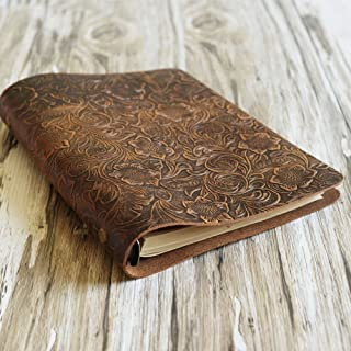 Simple A5 6-ring binder notebook, Leather Refillable Planner Binder, travelers Journal, sketchbook, Distressed Tooled Leather 702