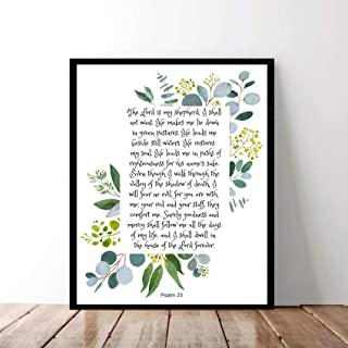 Arvier Psalm 23 Wall Art The Lord is My Shepherd Print Watercolor Bible Verse Artwork Scripture Poster Watercolor Painting Printable Theme Idea Framed Wall Art