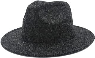 SHENTIANWEI Women's Men's Winter Autumn Wool Fedora Hat with Wide Brim Sombreros Jazz Hat for Gentleman Church Top Hat Size 56-58CM