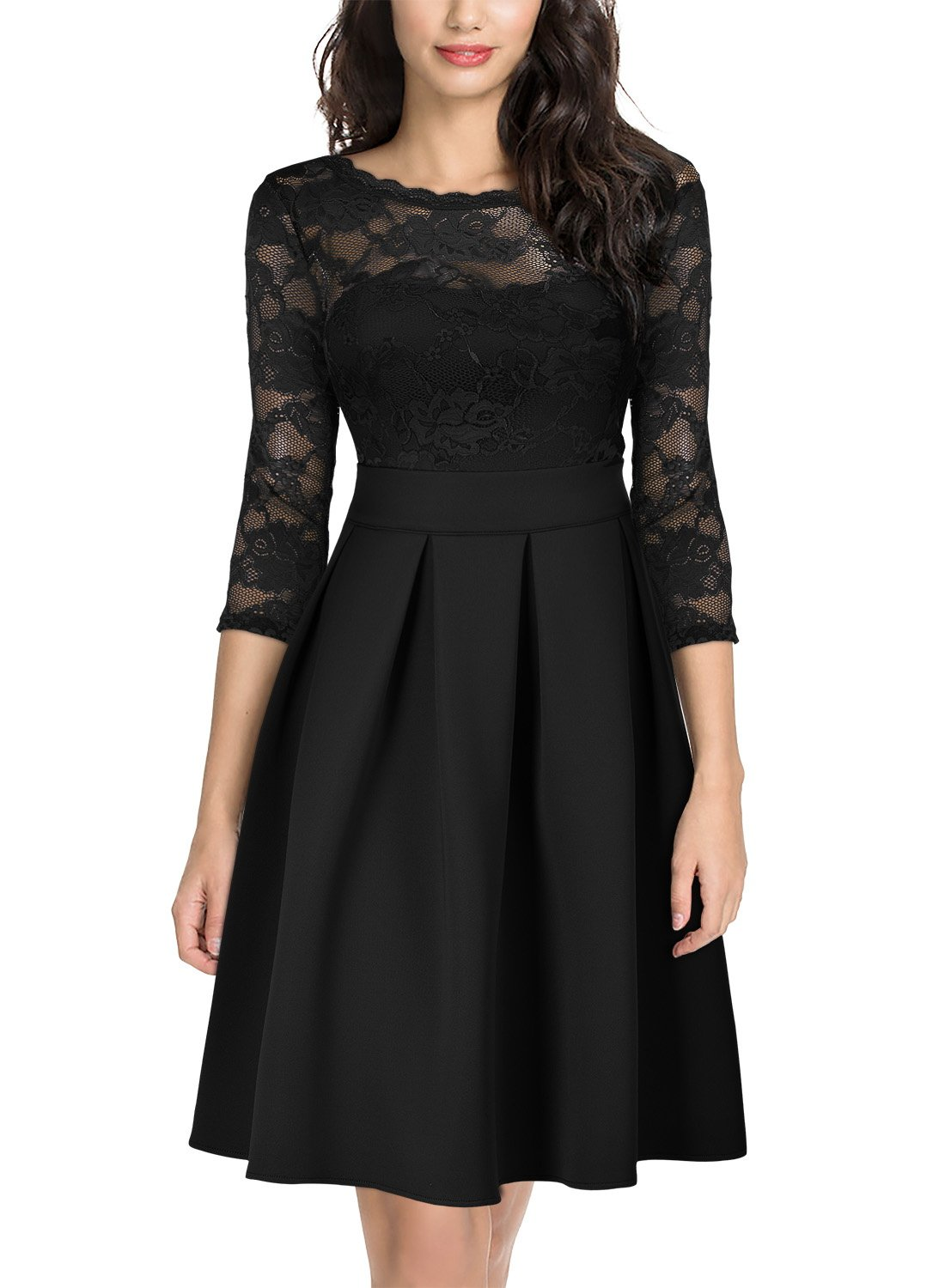 Wedding Guest Dresses - Women's Vintage Floral Lace Long Sleeve Boat Neck Cocktail Party Swing Dress