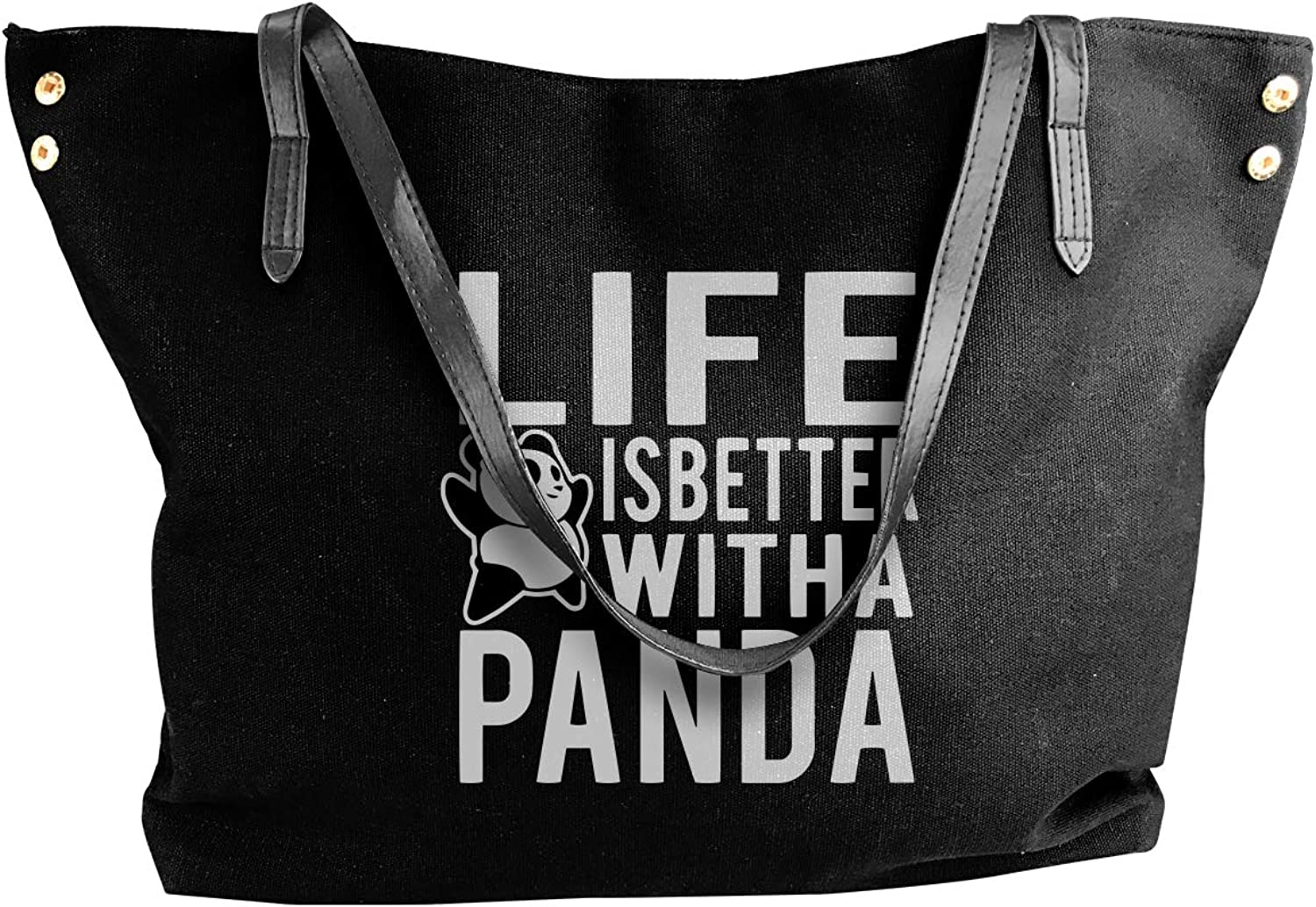 Life Is Better With A Panda Women'S Leisure Canvas Shoulder Bag For Work Work Bag