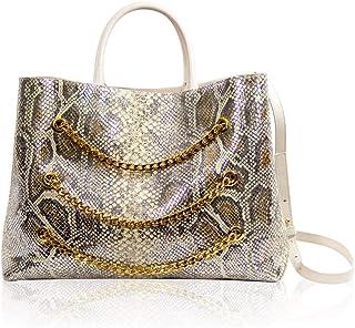 Valentino Orlandi Women's Large Handbag Tote Italian Designer Purse Silver Metallic Genuine Python Embossed Leather Top Handle Satchel Crossbody Bag with Triple Chains