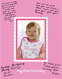 Amscan 1st Birthday Girl Autograph Photo Matte Party Supplies, 14