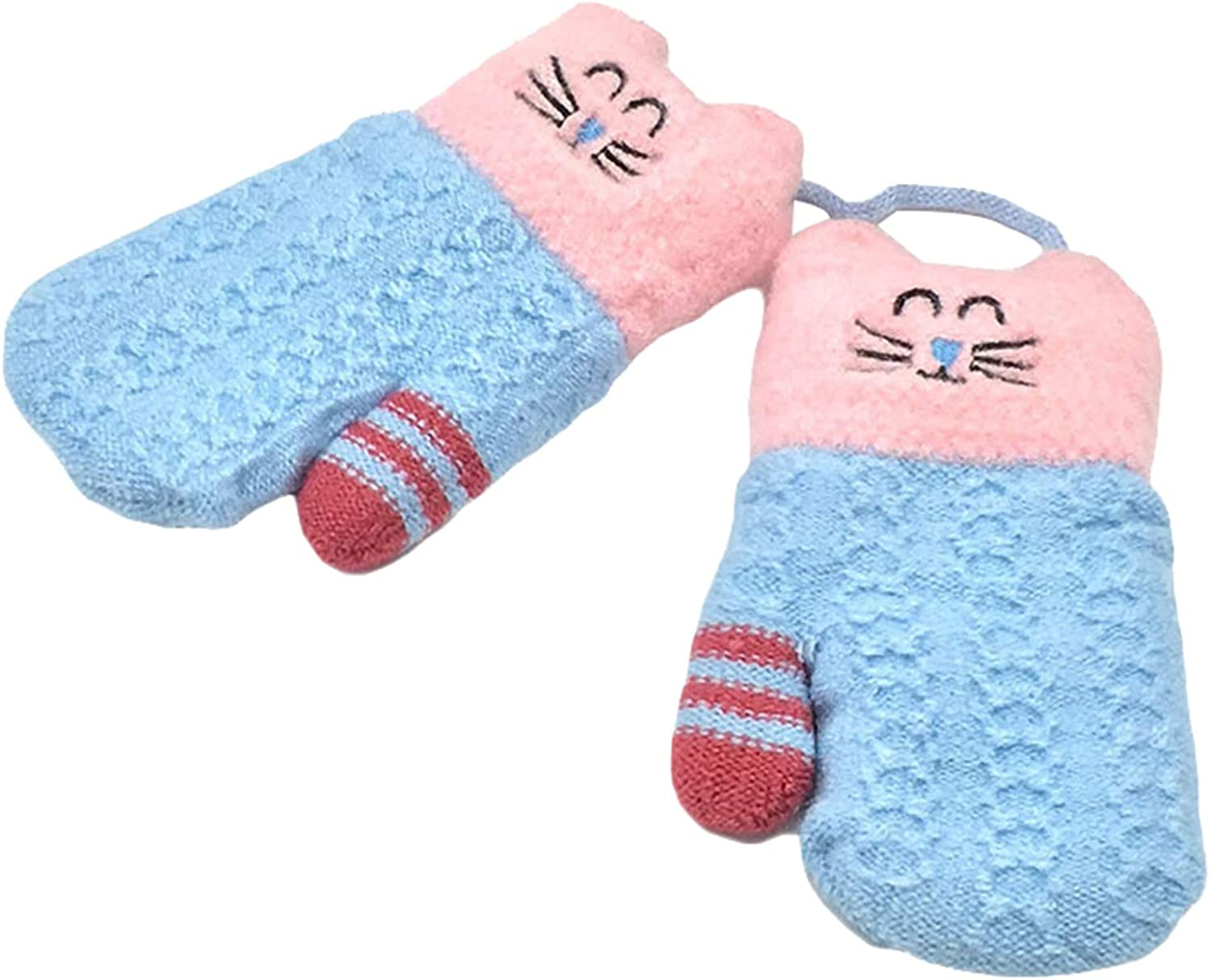 Kids Mittens, Kitten Embroidered Knitted Thermal Girls Cold Weather Gloves for Holiday Season New