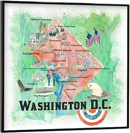 artboxONE Poster 20x20 cm St/ädte Washington DC Illustrierte Karte Bild Potomac Arlington Anacostia Karte