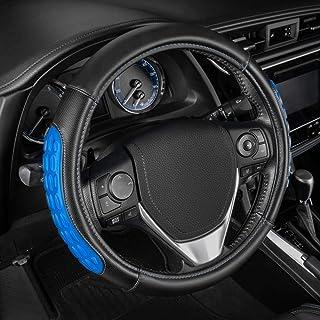 Sharper Image SISW 751 BL Lenkradbezug mit Mikrofaser Leder, universelle Passform (36,8   39,4 cm), Blau, Modellnummer: SISW 751 BL
