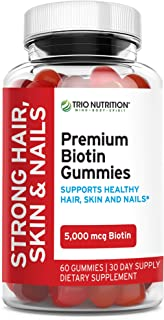 Premium Biotin Gummies with Coconut Oil for Strong & Healthy Hair, Skin, Nails & Metabolism – Hi Potency 5000 mcg, Non-GMO...