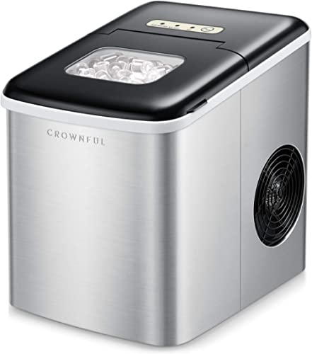 CROWNFUL Ice Maker Machine for Countertop, 9 Ice Cubes Ready in 8-10 Minutes, 26lbs Bullet Ice Cubes in 24H, Electric...