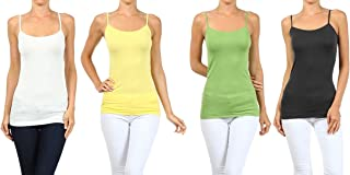 Women's Lady's Solid Seamless Long Spaghetti Strap Long Camisole Top
