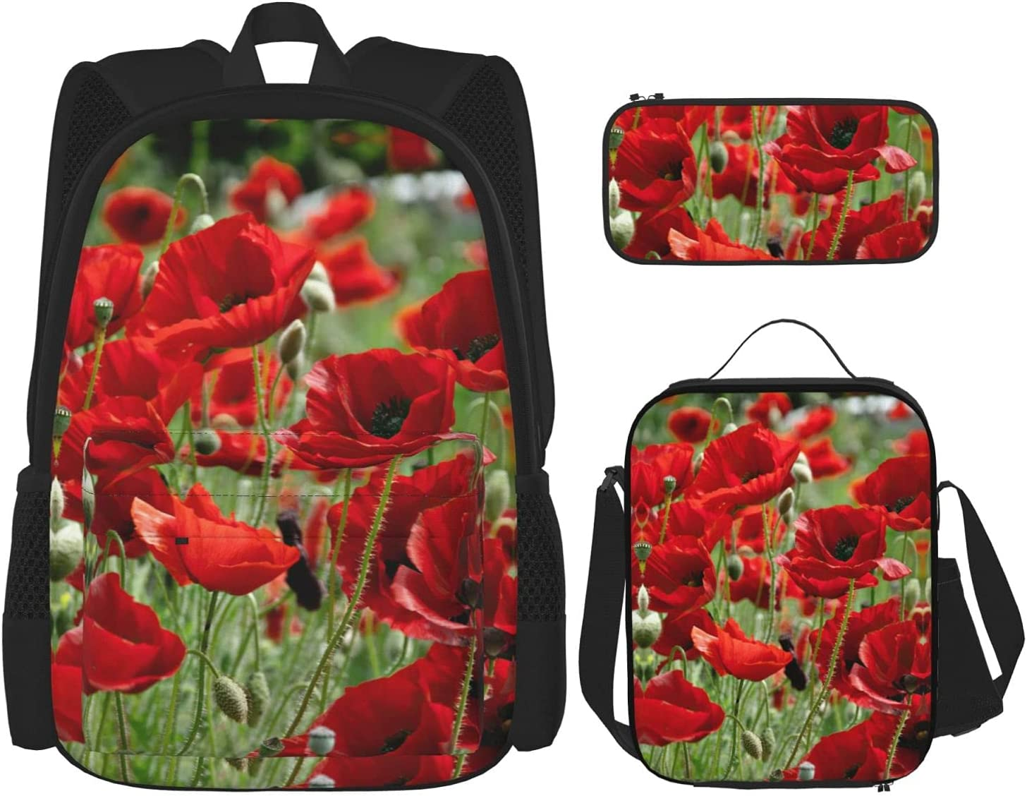 Red Poppies Flowers Children's Max 44% OFF for Backpack Set School 40% OFF Cheap Sale