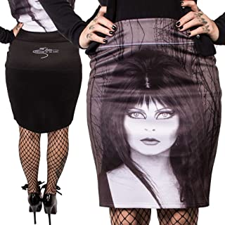 Presents Elvira Mistress of The Dark Goth Glam Witch Pencil Skirt