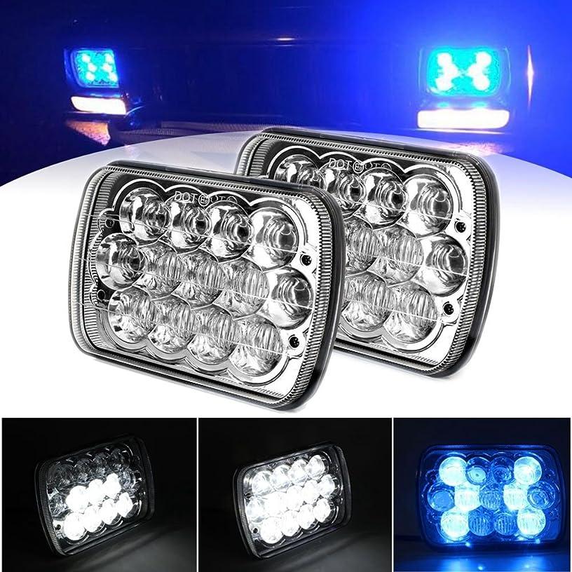 HOZAN Pair 7 x 6 5 x 7 LED Rectangular Headlight Blue DRL Atmosphere Light for Jeep Cherokee XJ Comanche MJ Dodge Pickup Chevy H6014 / H6052 / H6054 / 6054