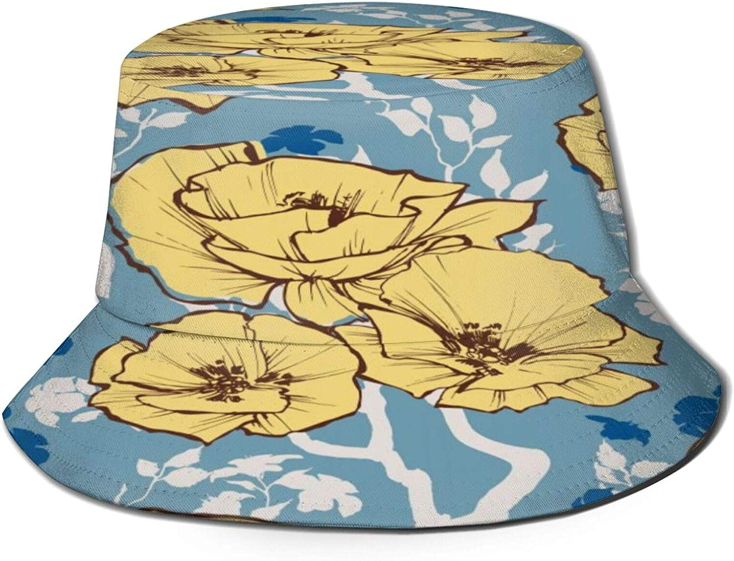 Retro Flowers and Branches Leaves Bucket Hat Unisex Sun Hat Summer Packable Fisherman Hats Black