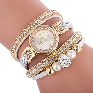 chengzhijianzhu_ Quartz Watches Casual Analog Womens Beautiful Fashion Bracelet Ladies Watch Round Bracelet No Waterproof Wrist
