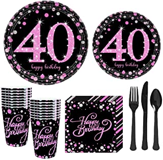 """40th Birthday Party Supplies Set Serves 16 Guests(112 Pieces) for Women - Disposable Dinnerware Kit Including 7"""" Plates,9""""..."""