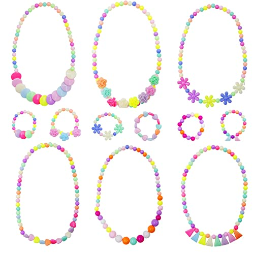 Princess Necklace Bracelet Set Little Girls Party Favor Jewelry Toddler Costume Jewelry for Kids
