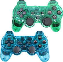 Saloke Wireless Controller for PS2 Playstation 2 Dual Shock(Pack of 2,ClearBlue and ClearGreen)