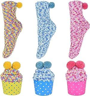 Calcetines para Navideños y San Valentín Mujeres Calcetines de Lana de Coral Empaquetado de Regalo de Magdalena Calcetines Térmicos de Felpa Difusa Cálida DIY Calcetines 1 o 3 pares