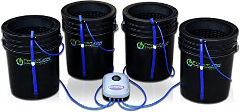 Deep Water Culture (DWC) Hydroponic Bubbler Bucket Kit by PowerGrow Systems (4) 5 Gallon - 10
