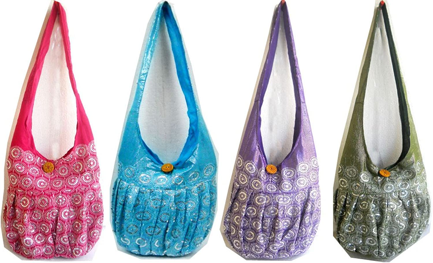Wholesale Lot 10 colorful Sequins & Embroidered Shoulder Hippie Bags
