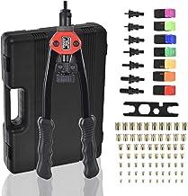 Rivet Nut Tool Pince à Rivets 2 en 1, Rivets Kit Riveteuse à Longue Poignée Pliable avec 9 Mandrins Métriques & SAE et 5 T...