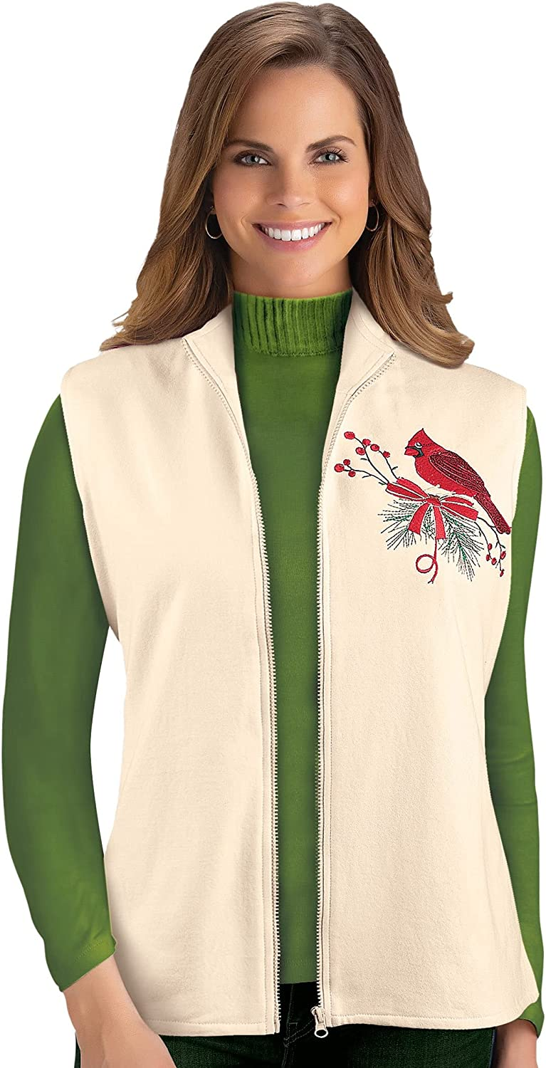 Cardinal Embroidered Ivory Vest with Zip Front - Festive Layering Piece