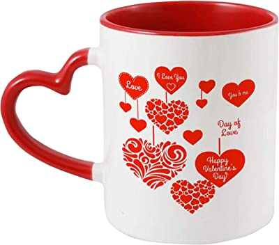 iKraft® Valentine Love Quotes Printed Coffee Mug, Red 325ml Inner and Handle Colour Tea Cup for Him/Her