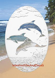 Dolphins Jumping Oval Etched Window Decal Vinyl Glass Cling - 21