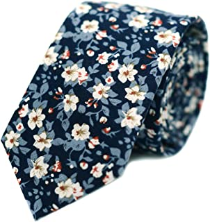 "JESLANG Men's Cotton Printed Floral Tie 2.56"" Skinny Narrow Necktie Various Designs"