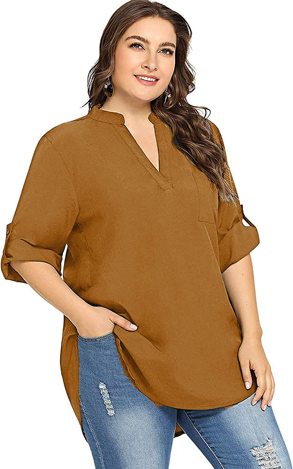Milumia Womens Plus Size V Neck Rolled Up Long Sleeve High Low Hem Loose Blouse Shirt Top