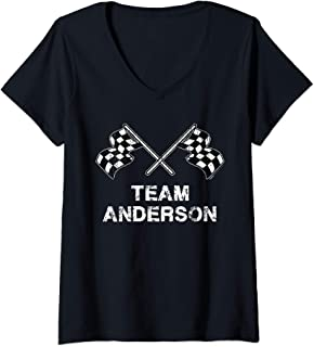 Womens Vintage Team Anderson Family Name Checkered Flag Racing V-Neck T-Shirt