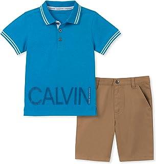Calvin Klein 男孩 2 件套 Polo 衫短裤套装