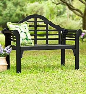 Plow & Hearth 62A79-BK Lutyens Eucalyptus Wood Garden Bench, Black