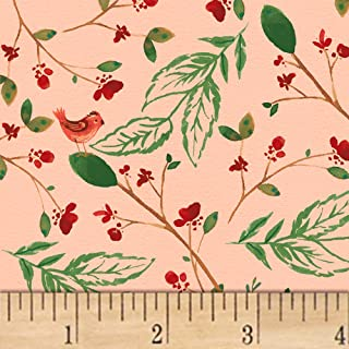 Windham Fabrics A Walk In The Woods Birds And Leaves Fabric, Blush, Fabric By The Yard