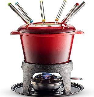 Xinrangxin Cast Iron Meat/Cheese/Chocolate Fondue Set, with Red Fondue Pot, 6 Fondue Forks, Fondue Burner and Fondue Pot Base