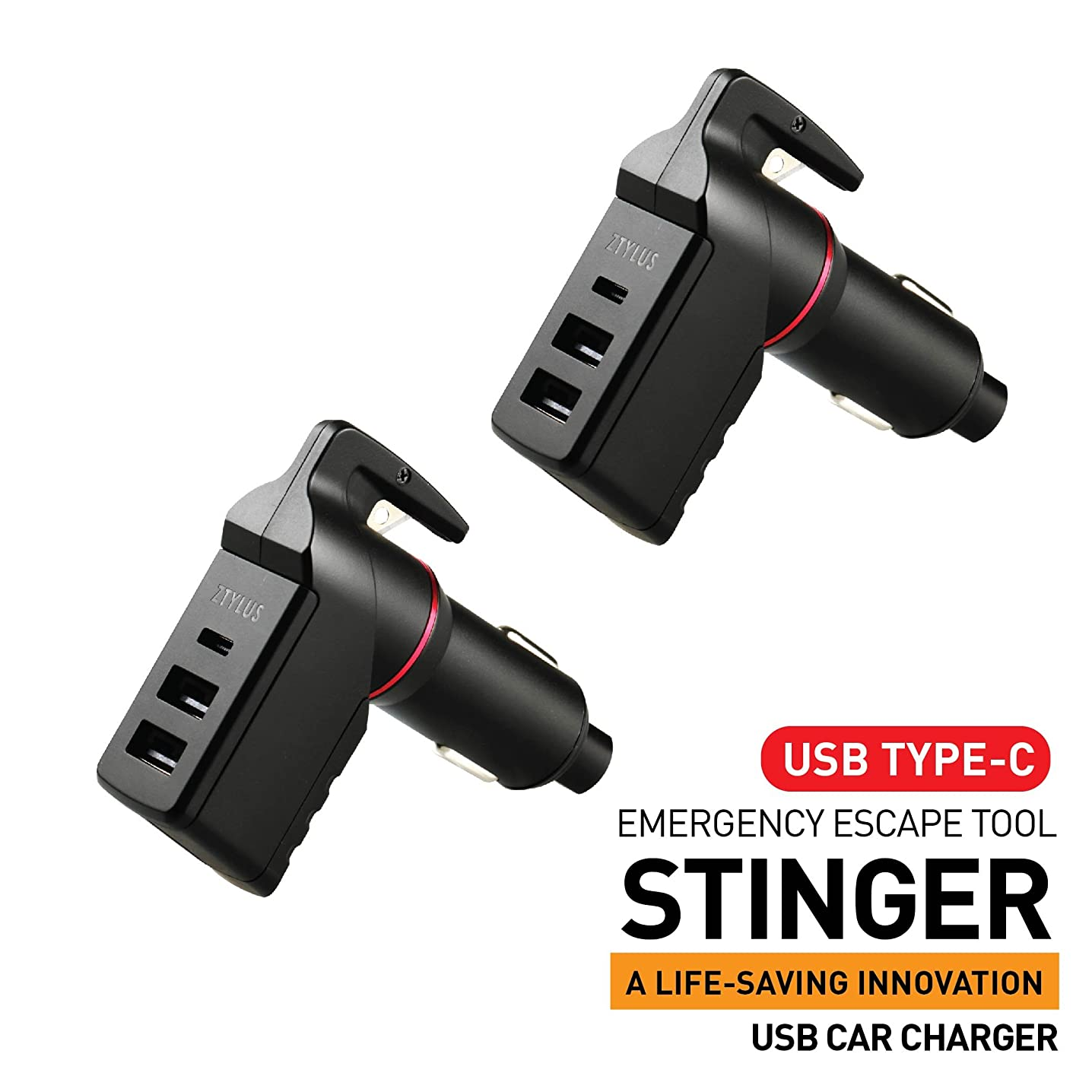 Ztylus Stinger USB Type C Car Charger Emergency Escape Tool: Spring Loaded Window Breaker Punch, Seat Belt Cutter, 1 USB-C Port + 2 USB-A Ports Cigarette Charger, 3.0A Max Output (2 pcs Black Pack)