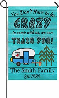 FunStudio Personalized Crazy Camping Garden Flag for Outside, Customized RV Campsite Motorhome Gift Banner Decoration 12x1...