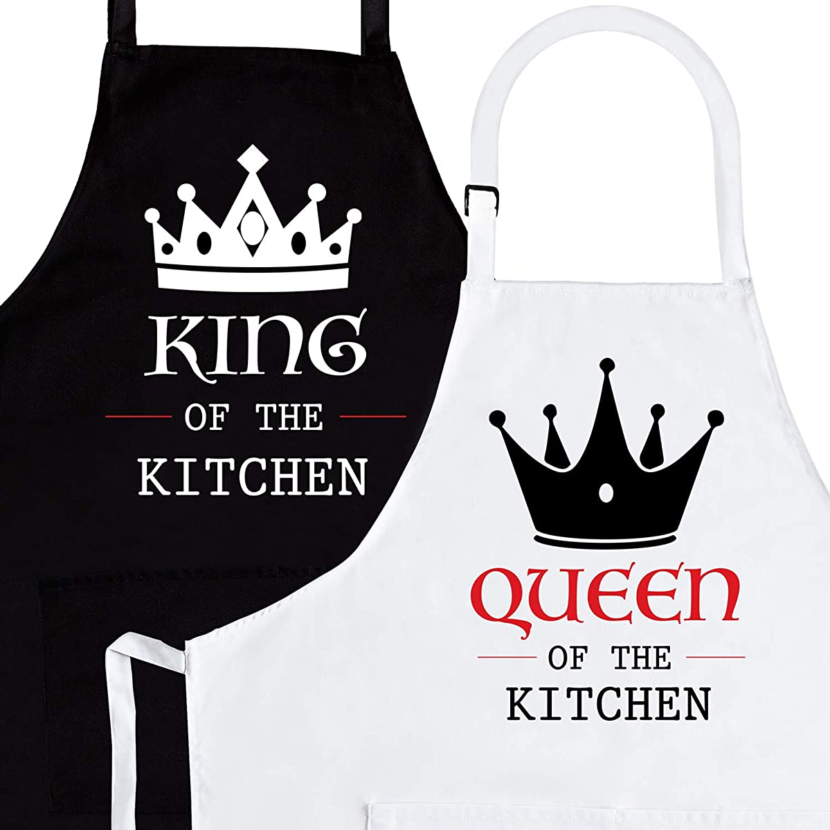 King & Queen of The Kitchen 2-Piece Apron Set - Matching Engagement Wedding Anniversary Bridal Shower Gift