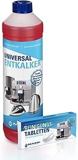 MAXXI CLEAN 1x Flüssigentkalker 750ml  10x Reinigungstabletten Kombi für Kaffeevollautomaten, Kaffee-Maschine, Kaffeepadmaschinen, Kalklöser, Kalk-Reiniger
